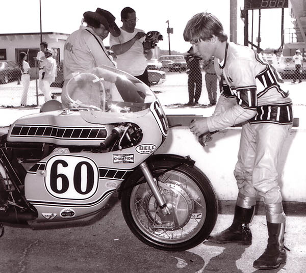 Kenny Roberts preparing for the 1972 Daytona 200