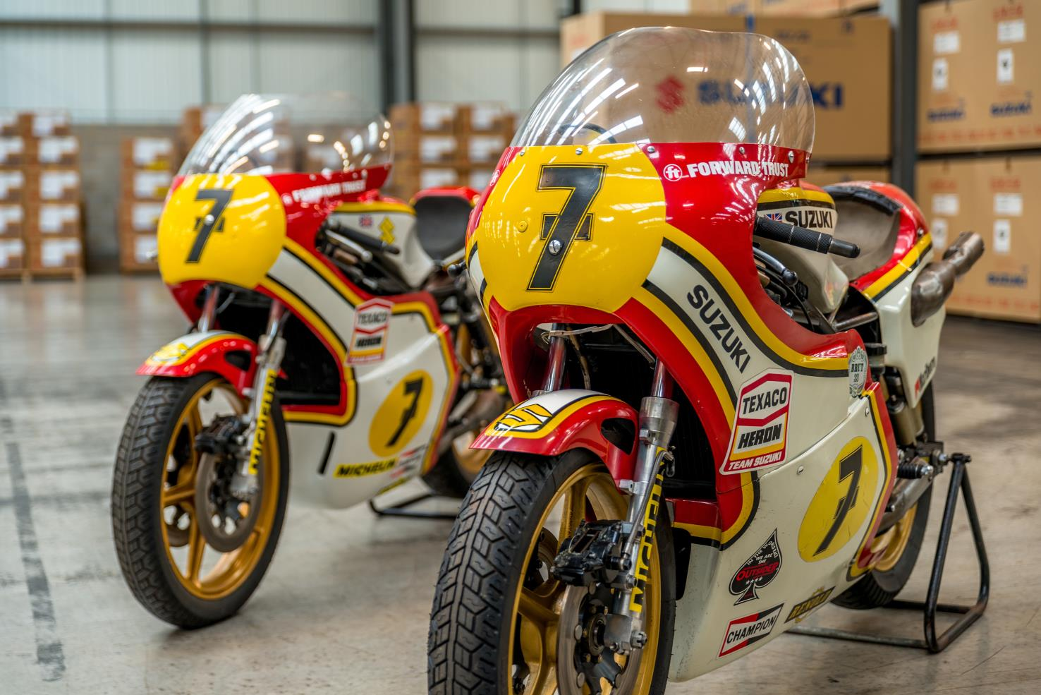 Barry Sheene's World Championship race bikes from 1976 and 1977