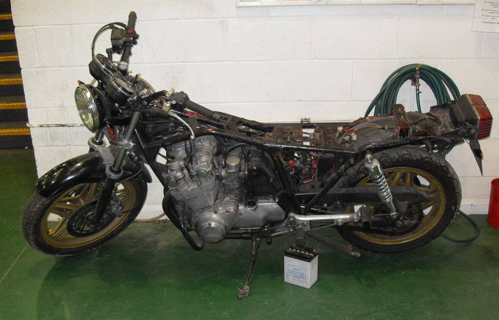 Donor bike partially stripped down