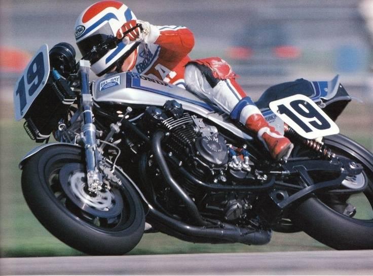 Freddie Spencer on his Honda CB750F Supersport
